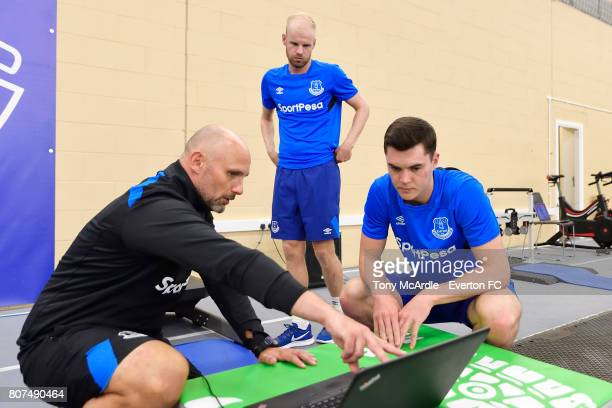 Davy Klaassen and Michael Keane of Everton during a pres season traiing session at USM Finch Farm on July 4 2017 in Halewood England