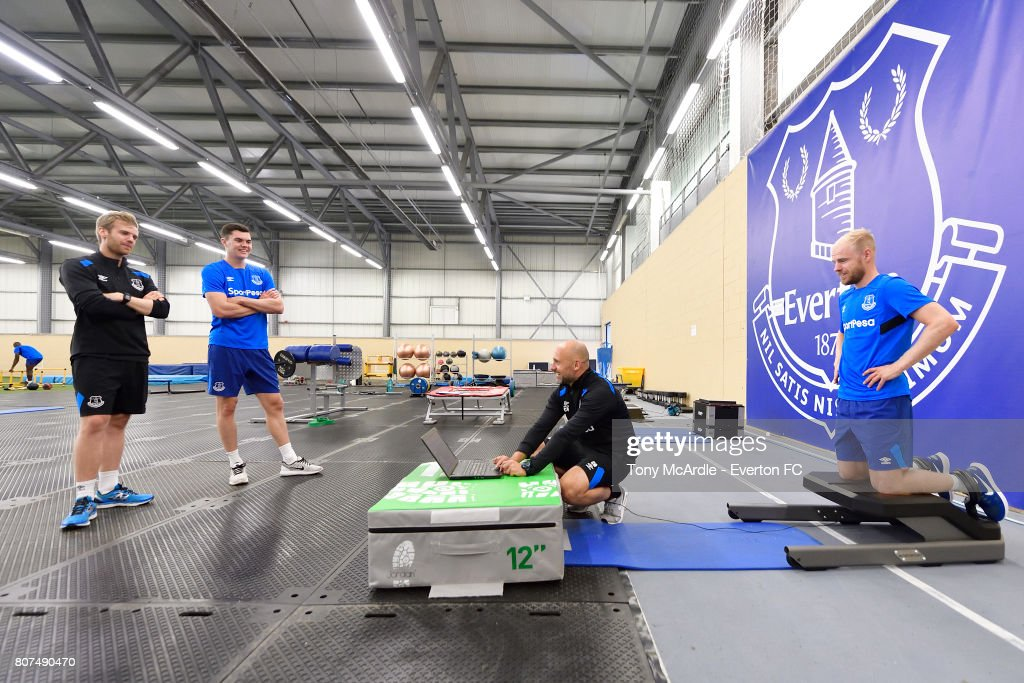 Davy Klaassen (R) and Michael Keane (L) of Everton during a pres season traiing session at USM Finch Farm on July 4, 2017 in Halewood, England.