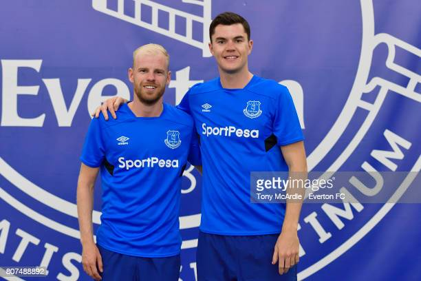 Davy Klaassen and Michael Keane of Everton pose during a pre season training session at USM Finch Farm on July 4 2017 in Halewood England