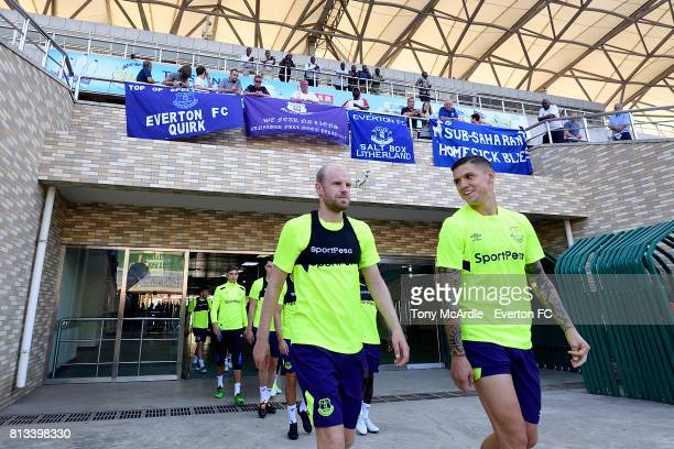 Davy Klaassen and Muhamed Besic of Everton during the Everton training session in DarEsSalaam on July 12 2017 in Tanzania