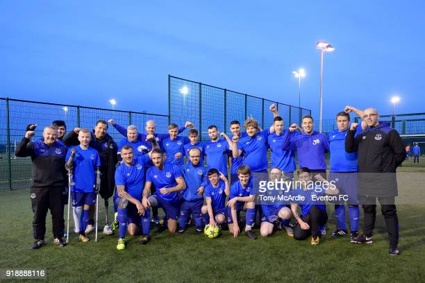 Davy Klaassen and Nikola Vlasic of Everton attend an Everton in the Community event at USM Finch Farm on January 26 2018 in Halewood England