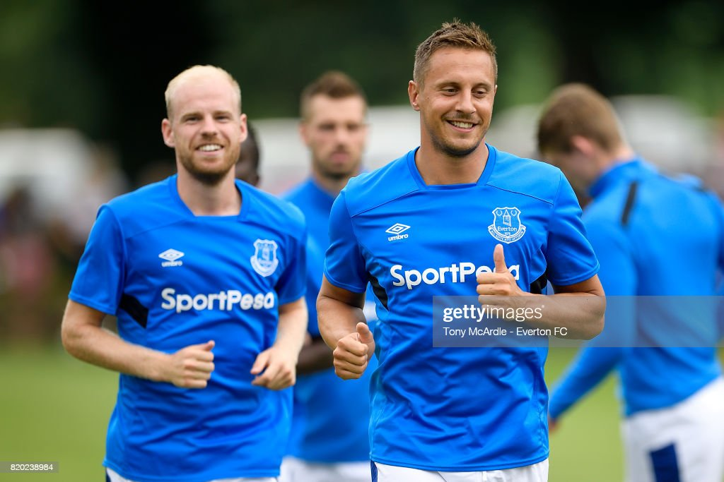 Davy Klaassen (L) and Phil Jagielka of Everton before the pre-season friendly match between FC Twente and Everton FC on July 19, 2017 in De Lutte, Netherlands.