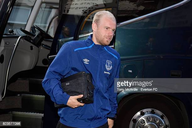 Davy Klaassen arrives before the UEFA Europa League Third Qualifying Round First Leg match between Everton and Ruzomberok at Goodison Park on July 27...