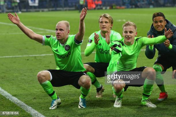 Davy Klaassen Kasper Dolberg and Matthijs de Ligt of Amsterdam celebrate losing 23 but qualified for the semi final match after the UEFA Europa...