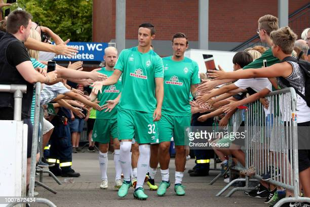 Davy Klaassen Marco Friedl and Max Kruse of Bremen welcome the fans prior to the Pre Season Friendly Match between VVV Venlo and Werder Bremen at...