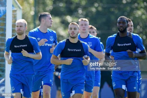 Davy Klaassen Michael Keane Nikola Vlasic Matthew Pennington and Yannick Bolasie during the Everton training session at USM Finch Farm on July 3 2018...