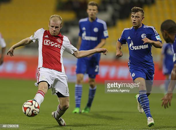 Davy Klaassen of Ajax Amsterdam vies with Max Meyer Schalke 04 during the international friendly soccer match between FC Schalke 04 and Ajax...