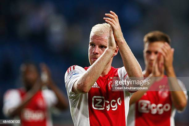 Davy Klaassen of Ajax applaudes the fans after victory in the UEFA Europa League play off round 1st leg match between Ajax Amsterdam and FK Baumit...