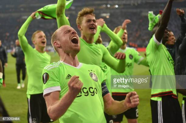Davy Klaassen of Ajax celebrate losing 23 but qualified for the semi final match after the UEFA Europa League quarter final second leg match between...