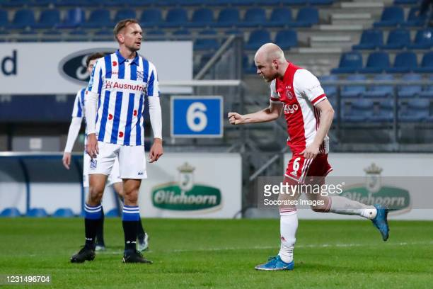 Davy Klaassen of Ajax celebrates 0-1 during the Dutch KNVB Beker match between SC Heerenveen v Ajax at the Abe Lenstra Stadium on March 3, 2021 in...