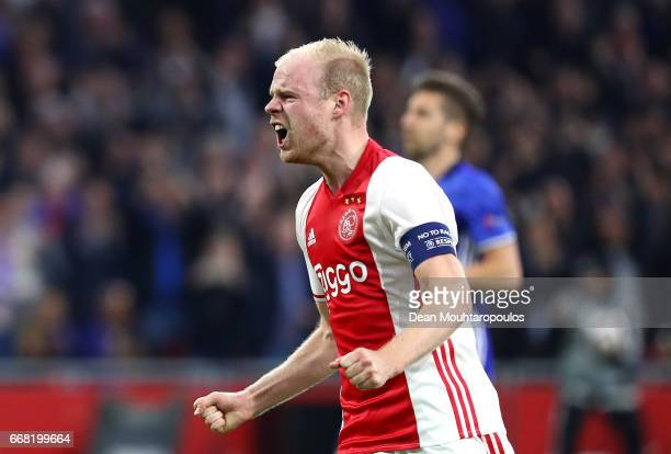 Davy Klaassen of Ajax celebrates after scoring his sides first goal during the UEFA Europa League quarter final first leg match between Ajax...