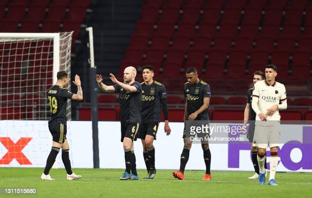 Davy Klaassen of Ajax celebrates with Antony, Edson Alvarez and Ryan Gravenberch after scoring their side's first goal during the UEFA Europa League...