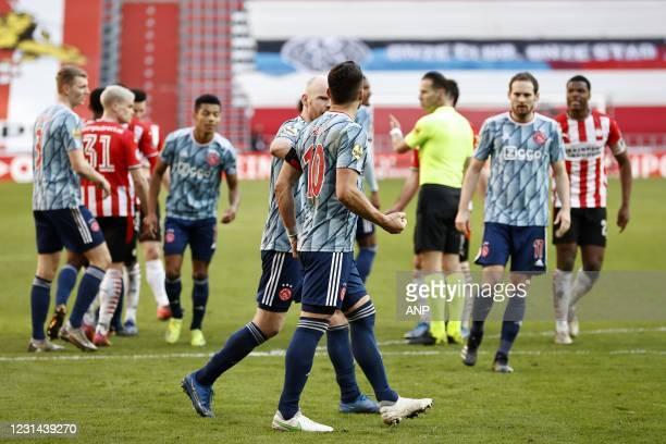 Davy Klaassen of Ajax, Dusan Tadic of Ajax, Daley Blind of Ajax, Denzel Dumfries or PSV Eindhoven during the Dutch Eredivisie match between PSV...