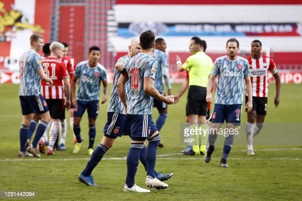 Davy Klaassen of Ajax, Dusan Tadic of Ajax, Denzel Dumfries or PSV Eindhoven during the Dutch Eredivisie match between PSV Eindhoven and Ajax...