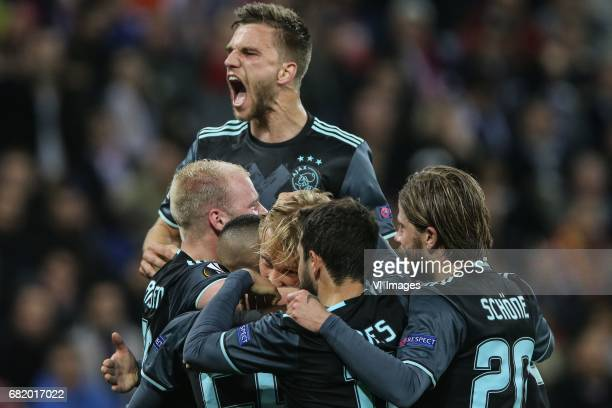 Davy Klaassen of Ajax Hakim Ziyech of Ajax Kasper Dolberg of Ajax Joel Veltman of Ajaxduring the UEFA Europa League semi final match between...