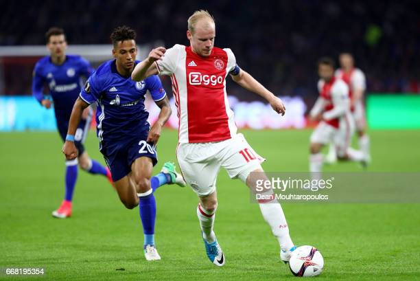 Davy Klaassen of Ajax in action during the UEFA Europa League quarter final first leg match between Ajax Amsterdam and FC Schalke 04 at Amsterdam...