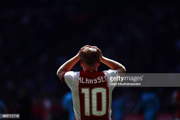 Davy Klaassen of Ajax reacts to a missed chance on goal during the Dutch Eredivisie match between Ajax Amsterdam and Feyenoord at Amsterdam ArenA on...