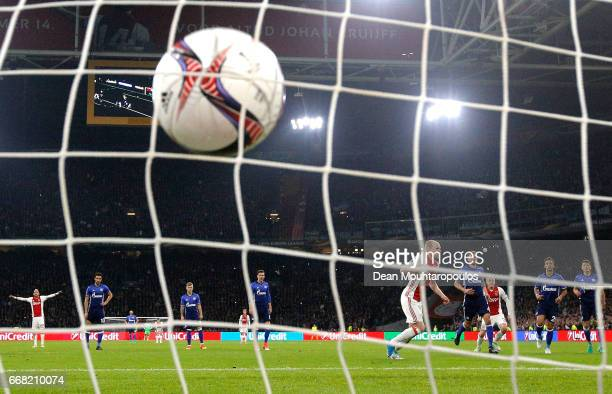 Davy Klaassen of Ajax scores his sides first goal during the UEFA Europa League quarter final first leg match between Ajax Amsterdam and FC Schalke...