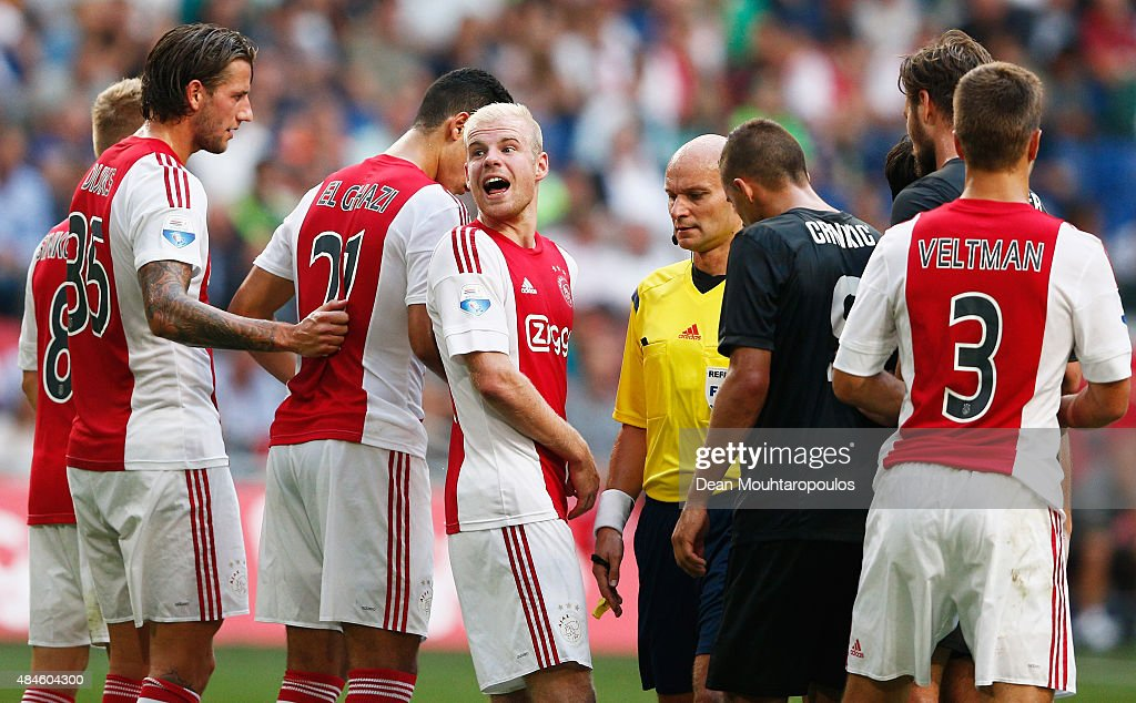 Davy Klaassen (C) of Ajax talks to his Goalkeeper, Jasper Cillessen (not in frame) during the UEFA Europa League play off round 1st leg match between Ajax Amsterdam and FK Baumit Jablonec on August 20, 2015 in Amsterdam, Netherlands.