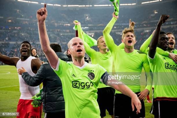 Davy Klaassen of Ajaxduring the UEFA Europa League quarter final match between Schalke 04 and Ajax Amsterdam on April 20 2017 at the VeltinsArena in...