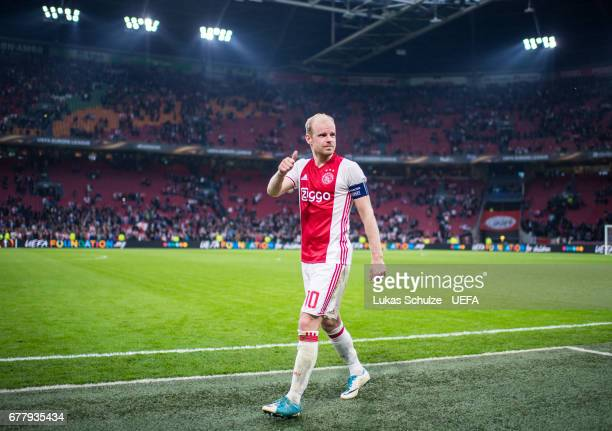 Davy Klaassen of Amsterdam reacts after winning the Uefa Europa League semi final first leg match between Ajax Amsterdam and Olympique Lyonnais at...
