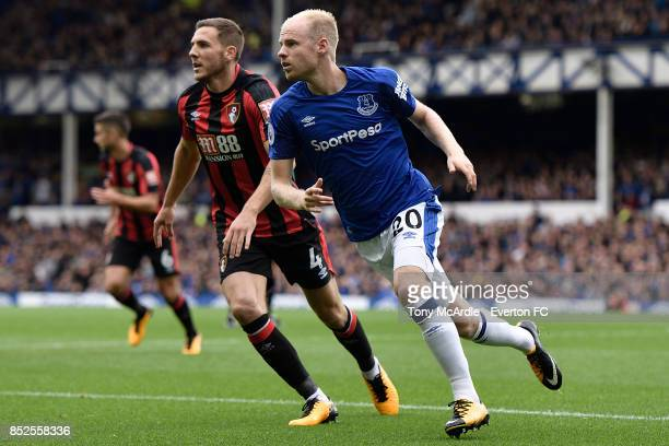 Davy Klaassen of Everton and Dan Gosling during the Premier League match between Everton and AFC Bournemouth at Goodison Park on September 23 2017 in...