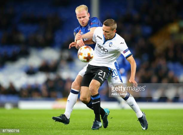 Davy Klaassen of Everton and Timoty Castagne of Atalanta battle for possession during the UEFA Europa League group E match between Everton FC and...