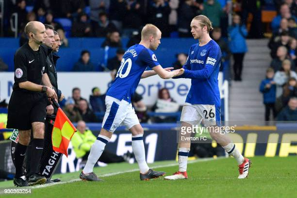 Davy Klaassen of Everton comes on as substitute during the Premier League match between Everton and Brighton and Hove Albion at Goodison Park on...