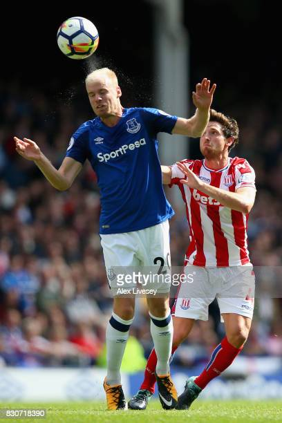 Davy Klaassen of Everton wins a header during the Premier League match between Everton and Stoke City at Goodison Park on August 12 2017 in Liverpool...