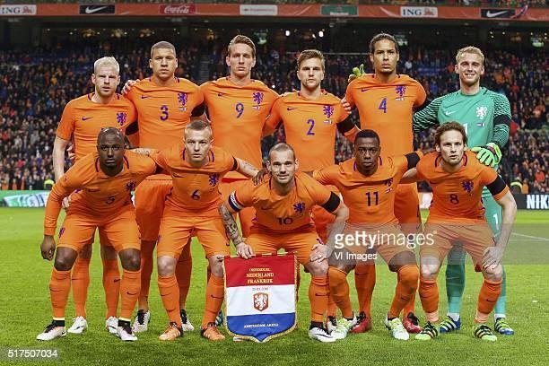 Davy Klaassen of Holland of Holland Jeffrey Bruma of Holland Luuk de Jong of Holland Joel Veltman of Holland Virgil van Dijk of Holland goalkeeper...