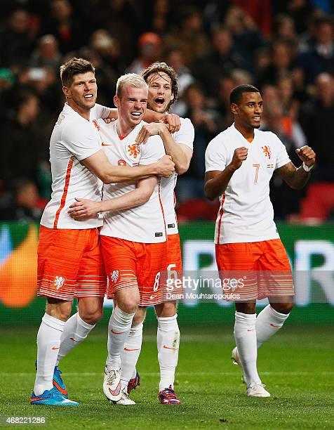 Davy Klaassen of Netherlands celebrates scoring the second goal with team mates during the international friendly match between the Netherlands and...