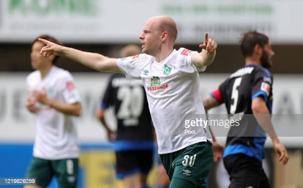 Davy Klaassen of SV Werder Bremen celebrates after scoring his team's first goal during the Bundesliga match between SC Paderborn 07 and SV Werder...