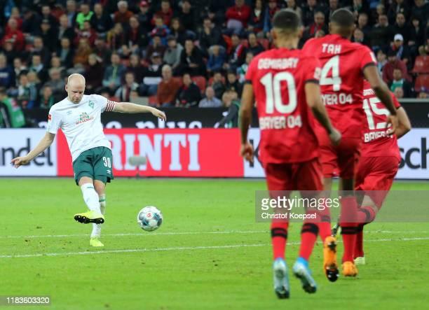 Davy Klaassen of SV Werder Bremen scores his team's second goal during the Bundesliga match between Bayer 04 Leverkusen and SV Werder Bremen at...
