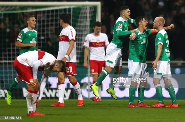 Davy Klaassen of Werner Bremen celebrates with team mate Max Kruse after scoring during the Bundesliga match between SV Werder Bremen and VfB...