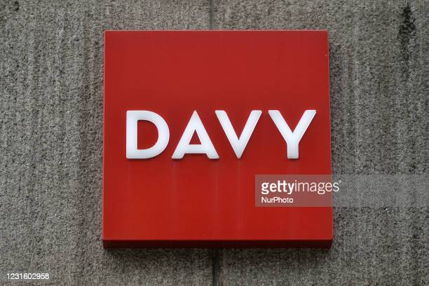 Davy logo seen at the entrance to Davy headquarters in Dawson Street in Dublin. Davy is Ireland's largest stockbroker, wealth manager, asset manager...