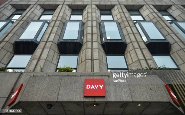Davy logos seen at the entrance to Davy headquarters in Dawson Street in Dublin. Davy is Ireland's largest stockbroker, wealth manager, asset manager...