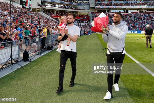 Davy Propper Jurgen Locadia during the Dutch Eredivisie match between PSV v FC Groningen at the Philips Stadium on May 6 2018 in Eindhoven Netherlands