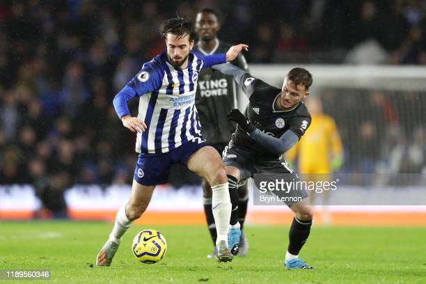 Davy Propper of Brighton and Hove Albion battles with James Maddison of Leicester City during the Premier League match between Brighton Hove Albion...