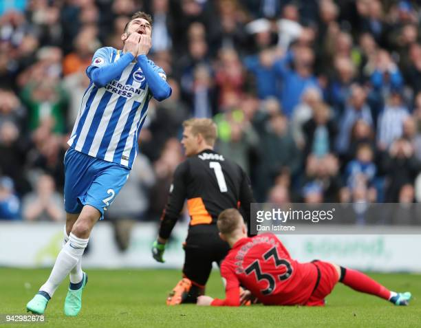 Davy Propper of Brighton and Hove Albion reacts during the Premier League match between Brighton and Hove Albion and Huddersfield Town at Amex...