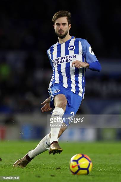 Davy Propper of Brighton Hove Albion in action during the Premier League match between Brighton and Hove Albion and Burnley at Amex Stadium on...