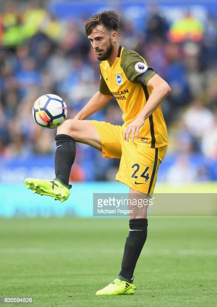 Davy Propper of Brighton in action during the Premier League match between Leicester City and Brighton and Hove Albion at The King Power Stadium on...
