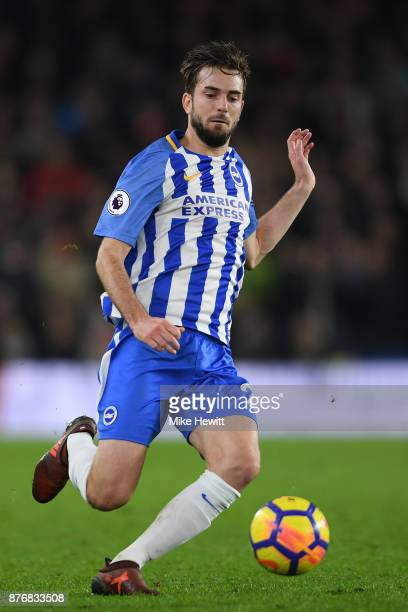 Davy Propper of Brighton in action during the Premier League match between Brighton and Hove Albion and Stoke City at Amex Stadium on November 20...