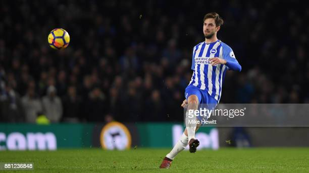 Davy Propper of Brighton in action during the Premier League match between Brighton and Hove Albion and Crystal Palace at Amex Stadium on November 28...