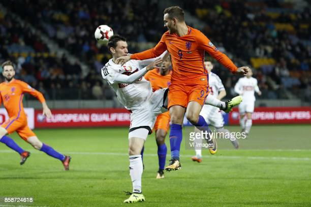 Davy Propper of Holland Maksim Volodko of Belarus Ryan Babel of Holland Vincent Janssen of Holland during the FIFA World Cup 2018 qualifying match...