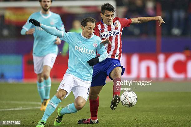 Davy Propper of PSV Andres Guardado of PSV Augusto Fernandez of Club Atletico de Madrid during the UEFA Champions League Round of 16 Second leg match...