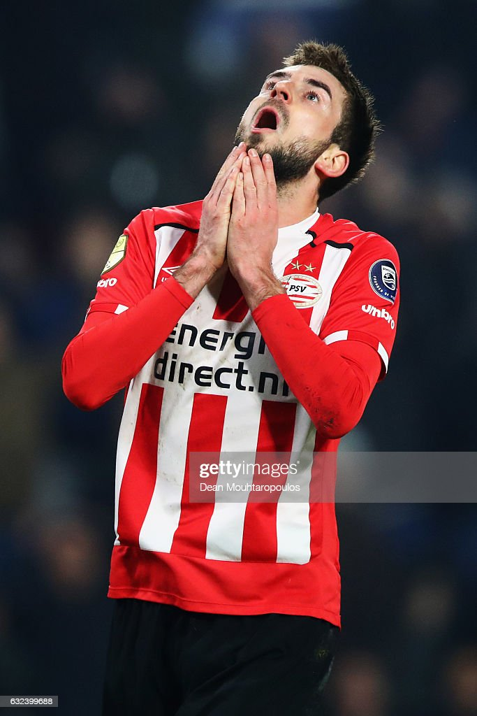 Davy Propper of PSV reacts to a missed chance on goal during the Dutch Eredivisie match between PSV Eindhoven and SC Heerenveen held at Philips Stadion on January 22, 2017 in Eindhoven, Netherlands.