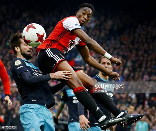 Davy Propper of PSV Terence Kongolo of Feyenoord Luuk de Jong of PSVduring the Dutch Eredivisie match between Feyenoord Rotterdam and PSV Eindhoven...