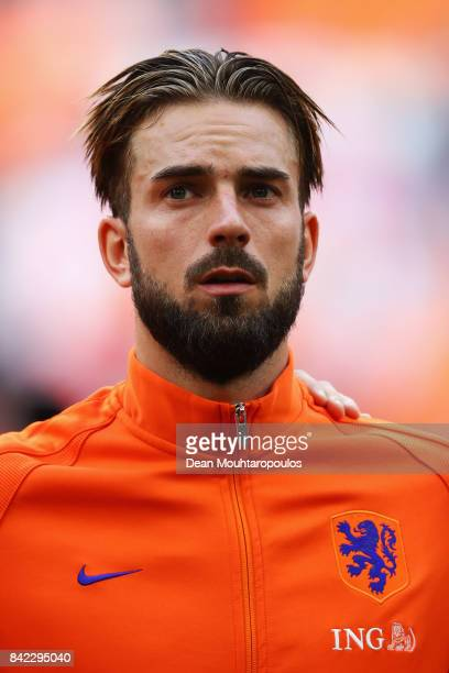 Davy Propper of the Netherlands stands for the national anthem the FIFA 2018 World Cup Qualifier between the Netherlands and Bulgaria held at The...