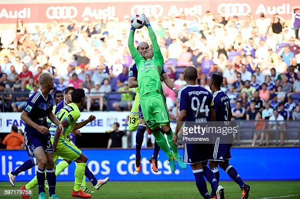 Davy Roef goalkeeper of RSC Anderlecht pictured during Jupiler Pro League match between RSC Anderlecht and KAA Gent on August 28, 2016 in Brussels,...