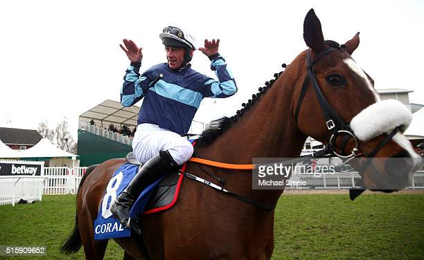 Davy Russell celebrates on board Diamond King after winning the the Coral Cup during Ladies Day of the Cheltenham Festival at Cheltenham Racecourse...